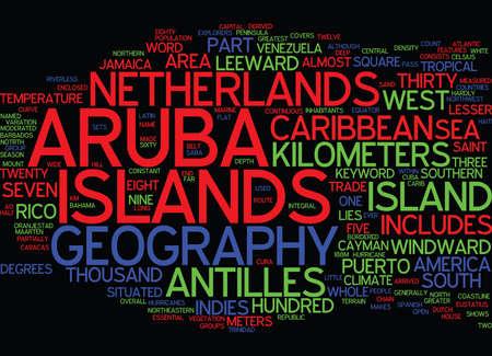 ARUBA GEOGRAPHY 단어 구름 개념에서 텍스트 배경 일러스트