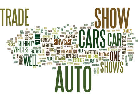 AUTO TRADE SHOWS Text background in word cloud concept