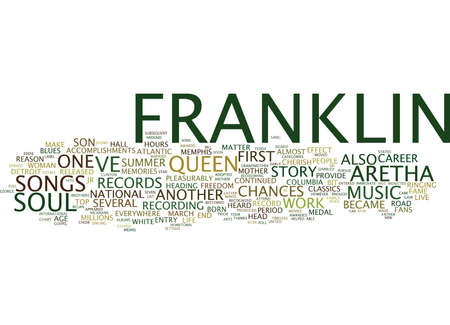 ARETHA FRANKLIN THE STORY OF THE QUEEN OF SOUL Text Background Word Cloud Concept Иллюстрация