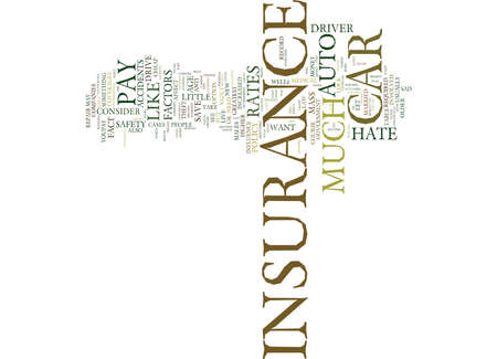 AUTO INSURANCE THE FACTORS THAT AFFECT HOW MUCH YOU PAY Text Background Word Cloud Concept