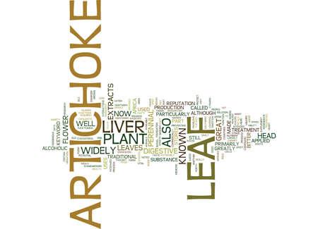 ARTICHOKE LEAF Text Background Word Cloud Concept Ilustração