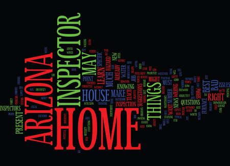 ARIZONA HOME INSPECTOR Text Background Word Cloud Concept Ilustração
