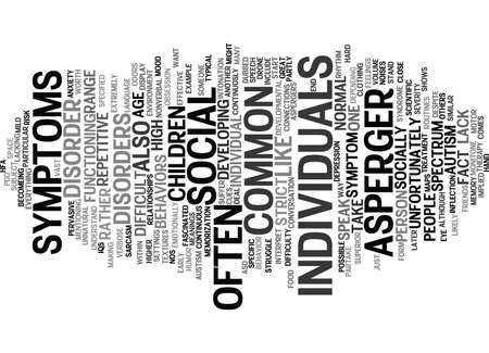 ASPERGERS SYMPTOMS Text Background Word Cloud Concept Illustration