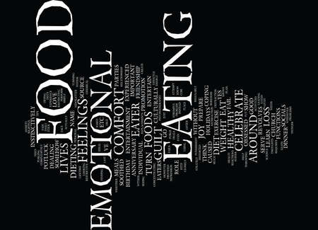 dinner party: ARE YOU AN EMOTIAL EATER Text Background Word Cloud Concept