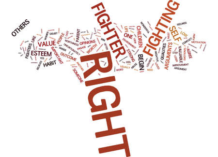 ARE YOU A RIGHT FIGHTER Text Background Word Cloud Concept Illustration