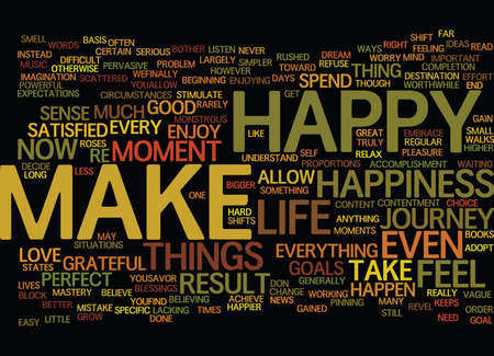 BE HAPPY ONE OF THE GREATEST SOURCES OF HAPPINESS NATURE Text Background Word Cloud Concept Vectores