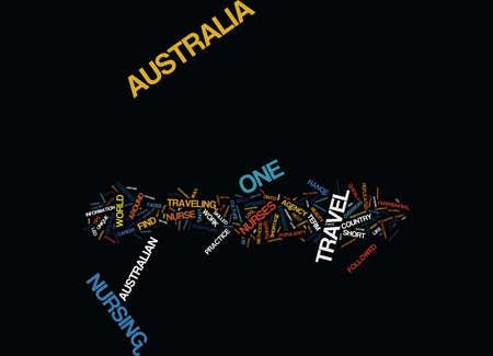 AUSTRALIA TRAVEL FOR A NURSE Text Background Word Cloud Concept Иллюстрация