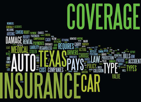 AUTO INSURANCE TEXAS Text Background Word Cloud Concept