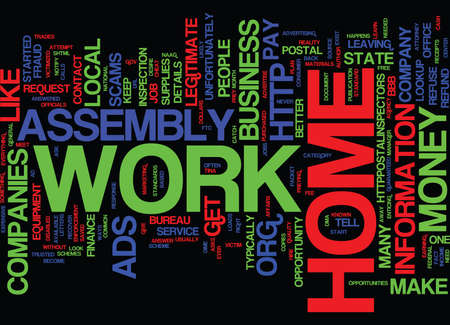 ASSEMBLY WORK AT HOME SCAMS Text Background Word Cloud Concept