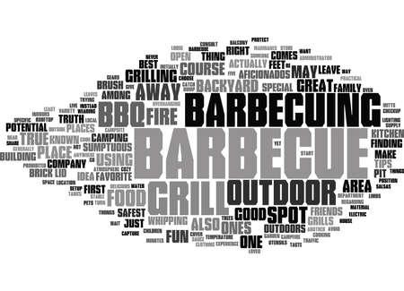 바베큐 흡연자 미국 요리의 큰 부분 텍스트 배경 단어 구름 개념 일러스트