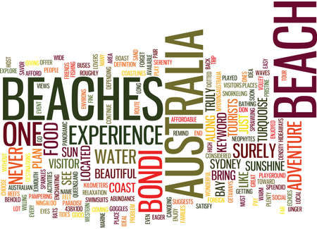 AUSTRALIA BEACHES Text background in word cloud concept