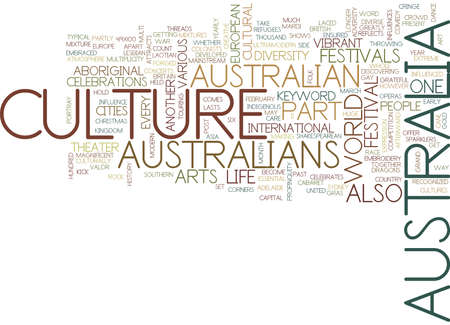 AUSTRALIA CULTURE Text background in word cloud concept Stock Vector - 82566377