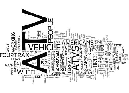 ATV HISTORY Text background in word cloud concept