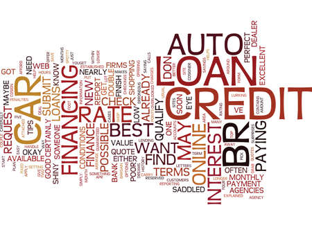 AUTO LOANS TOP TIPS FOR THE BEST RATE Text Background Word Cloud Concept