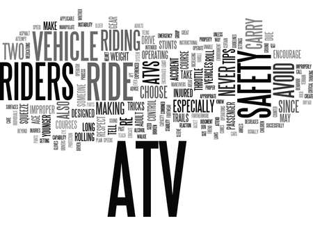 ATV SAFETY TIPS Text Background Word Cloud Concept