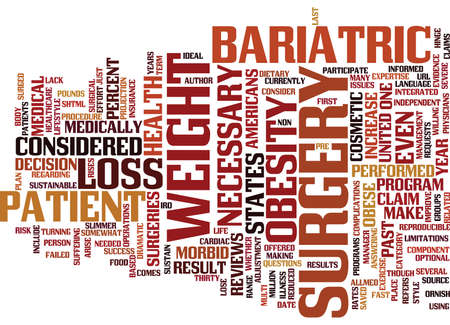 BARIATRIC SURGERY FOR OBESITY Text Background Word Cloud Concept