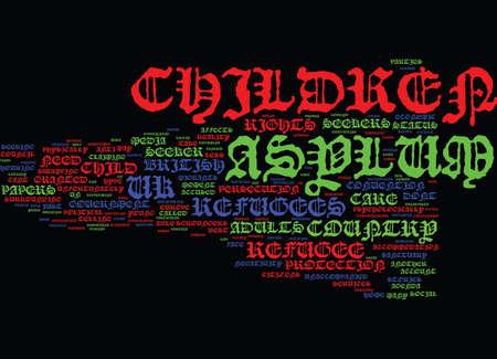 ASYLUM SEEKER ET REFUGEE ENFANTS Contexte de texte Word Cloud Concept