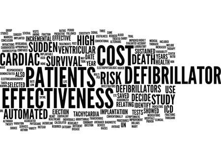 automated: AUTOMATED DEFIBRILLATOR AND COST EFFECTIVENESS Text Background Word Cloud Concept
