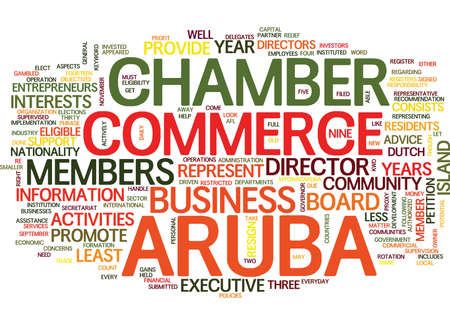 ARUBA CHAMBER OF COMMERCE Text Background Word Cloud Concept