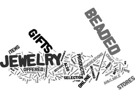 BEADED JEWELRY Text Background Word Cloud Concept Ilustração