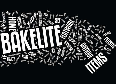 roth: AT HOME WITH BAKELITE Text Background Word Cloud Concept