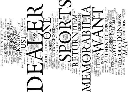 AUTHENTIC SPORTS MEMORABILIA Text Background Word Cloud Concept