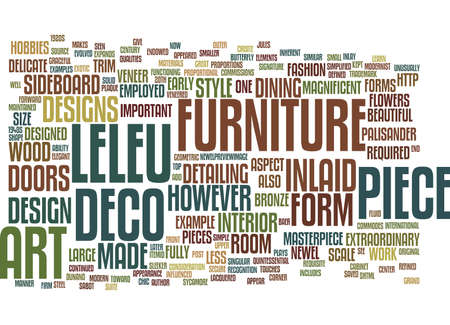 ART DECO FURNITURE A LELEU MASTERPIECE Text Background Word Cloud Concept