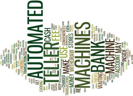 AUTOMATED TELLER MACHINES Text Background Word Cloud Concept Фото со стока - 82566476