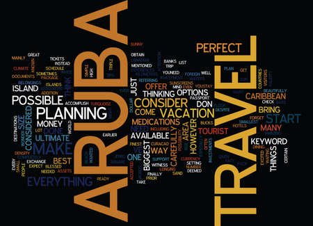 ARUBA TRAVEL Text Background Word Cloud Concept