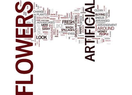 ARTIFICIAL FLOWERS Text Background Word Cloud Concept