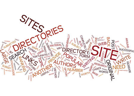 directory: ARTICLE DIRECTORIES ARE A POPULAR FORM OF WEB DIRECTORY Text Background word cloud concept