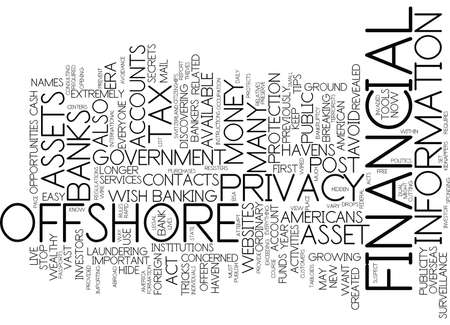 ASSETS HAVEN PROTECTS FINANCIAL PRIVACY IN POST ERA Text Background Word Cloud Concept Reklamní fotografie - 82571318
