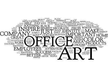 happier: ART FOR THE SUCCESSFUL OFFICE Text Background word cloud concept