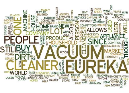 appliances: EUREKA VACUUM CLEANER Text Background Word Cloud Concept