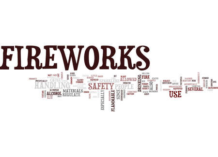 FIREWORKS SAFETY Text Background Word Cloud Concept