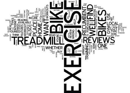 EXERCISE BIKES WHAT S ON THE MARKET Text Background Word Cloud Concept Vektoros illusztráció
