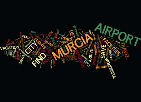 ENJOY CONVENIENCE AT MURCIA AIRPORT Text Background Word Cloud Concept Illustration