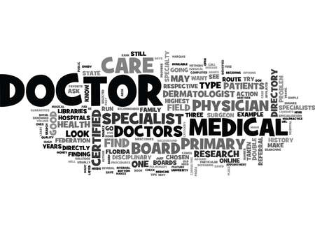 FIND A DOCTOR Text Background Word Cloud Concept