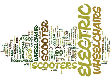 ELECTRIC WHEELCHAIR SCOOTER Text Background Word Cloud Concept Illustration