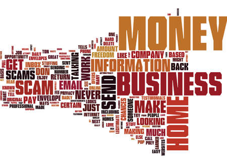 BEWARE OF HOME BUSINESS SCAMS Text Background Word Cloud Concept