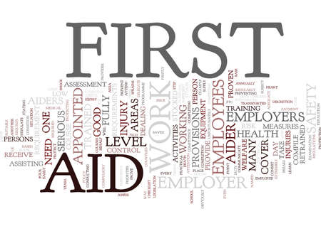 FIRST AID AT WORK FOR EMPLOYEES Text Background Word Cloud Concept