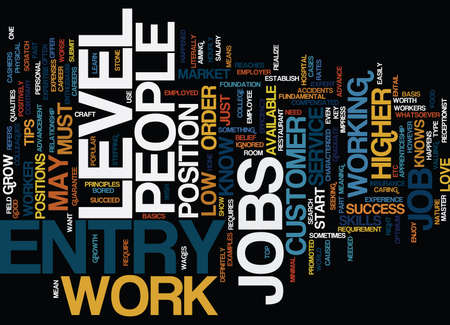 ENTRY LEVEL JOBS DLVY NICHEBLOWERCOM Text Background Word Cloud Concept