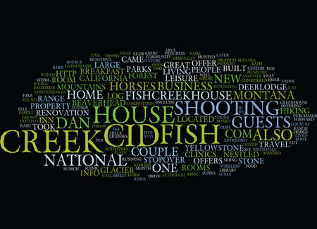FISH CREEK HOUSE Text Background Word Cloud Concept