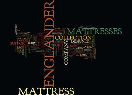 boast: ENGLANDER MATTRESS Text Background Word Cloud Concept Illustration