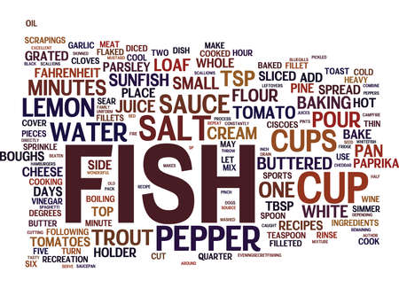 FISH RECIPES Text Background Word Cloud Concept