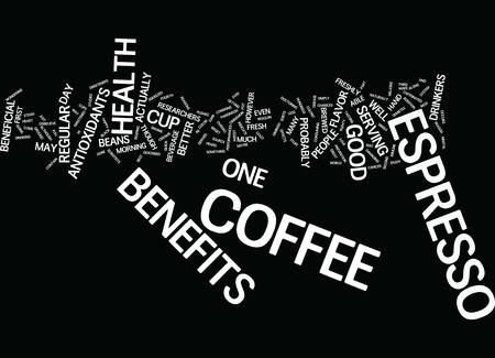 ESPRESSO BENEFITS TO YOUR HEALTH Text Background Word Cloud Concept