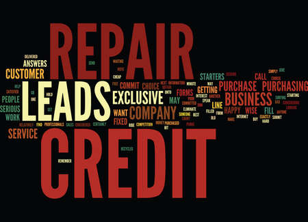 EXCLUSIVE CREDIT REPAIR LEADS Text Background Word Cloud Concept