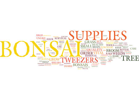ESSENTIAL BONSAI SUPPLIES Text Background Word Cloud Concept Illustration