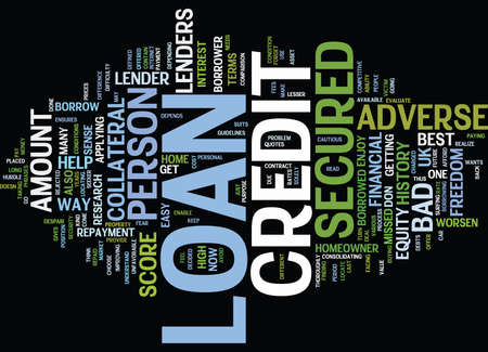 adverse: ENJOY FINANCIAL FREEDOM WITH ADVERSE CREDIT SECURED LOAN Text Background Word Cloud Concept Illustration