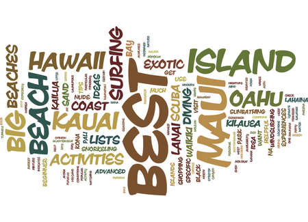 BEST OF HAWAII ITINERARY IDEAS FOR THE TRAVELER Text Background Word Cloud Concept